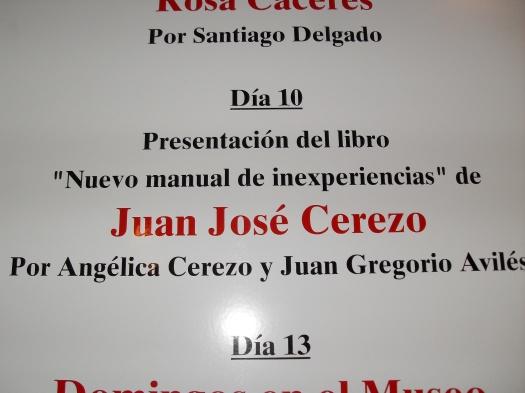 Cartel que anunciaba la presentación del libro en el Ramón Gaya