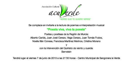 Cartel del recital organizado por Acuverde 2013